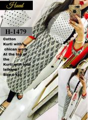 White Cotton Chikan work Kurti