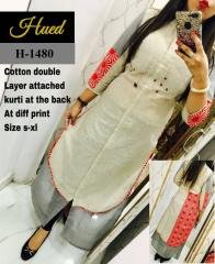 Cotton double layer Attached white Kurti