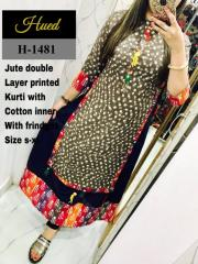 Jute Double Layer Kurti with inner cotton Kurti