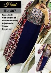Hand Embroidery adjust waist thread Rayon kurti