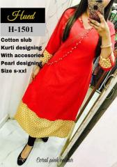 Pearl Designing Cotton slub Red Kurti