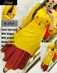 Cotton Kurti With Fridges with Bottom skirt