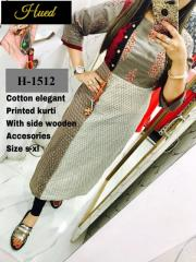 Elegant Printed Kurti with side wooden Button