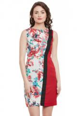 Red Floral Print Sleeveless Bodycon Dress