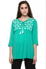 Green Quarter Sleeves Embroidered Top