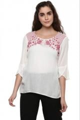 White Embroidered Top With Flaired Sleeve