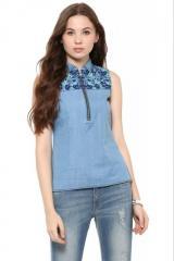 Sleeveless Blue Denim Shirt With Zipper