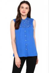 Blue Shirt With Lace Detailing