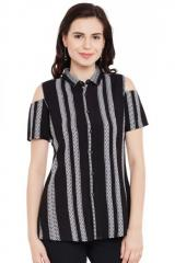 Black And White Striped Cold Shoulder Top With Back Detailing
