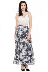 Black And White Printed Maxi Skirt With Slim Waistband