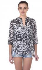 Black Ikat Print Daisy Shirt
