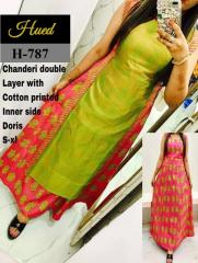 Chanderi Double layer Kurti with Dorie