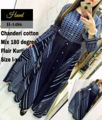 Blue Color Chanderi-Cotton  Kurtis
