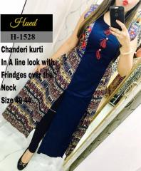 Blue Color Inner with Multi-color Chanderi Kurti