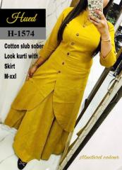 Mustard Color Cotton Kurti with Skirt