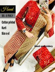 Hand embroidery Cotton Printed Kurti