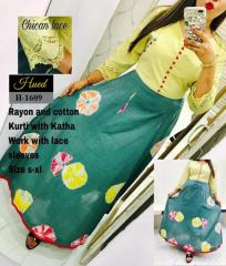 Rayon And Cotton Katha work Kurti with Lace Sleeves