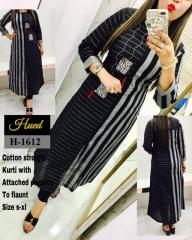 Cotton Straight Black Kurti