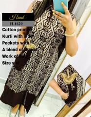Cotton Printed Kurti with Side Pockets