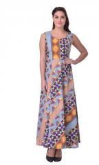 Multi Abstract Print Long Cotton Dress