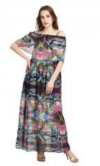 Off Sholder Abstract Print Maxi Dress