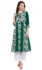 Green Printed Anarkali Kurta