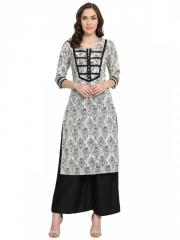 White Block Print Straight Kurta