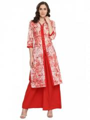 Tye-Dye Front slit long Kurta with Contrast Placket