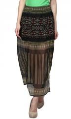 Border Printed Slit Skirt