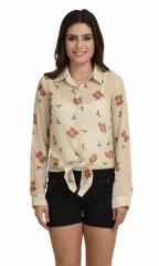 Cream Trendy Printed Knot Style Shirt