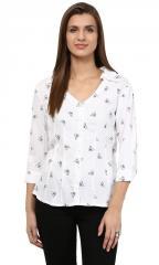 White Tringle Rayon Shirt