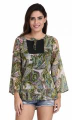 Multi Paisley Print Bell Sleeve Top