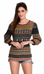 Multi Patch Traditional Print Top