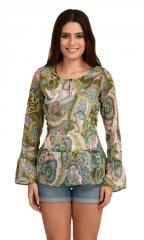 Paisley Summer Cool Bell Sleeves Top
