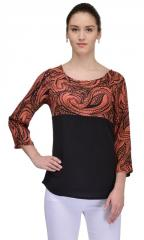 Regan Mix & Match Orange Paisley Rayon Top