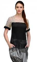Dotted Cream & Black Retro Top