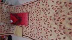 Kranchi Red-Cream Color cotton un-stitch Suit