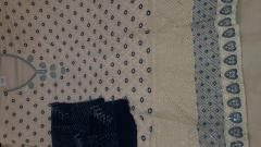 Karanchi Blue/Cream Color Chanderi unstitch Suit