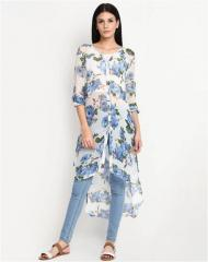 Blue Floral Print  White Tunic Top