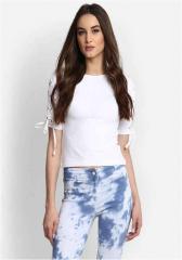 Sleeves Design White Plain Top