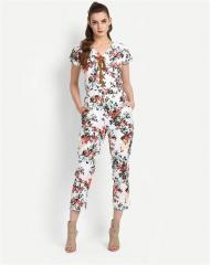 Floral pattern white Jumbo Suit