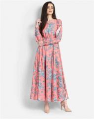 Blue Floral Peach color Dress