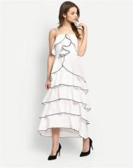 Sleeveless Layer Design White dress