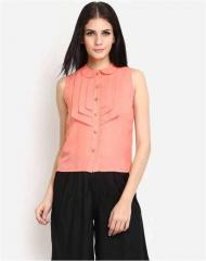 Round Neck with collar pink top
