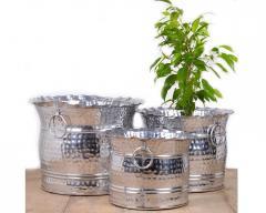 Floor Plants vases silver Metal set of 3 Pcs