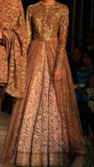 Pink with Brown Net Indowestern bridal Gown
