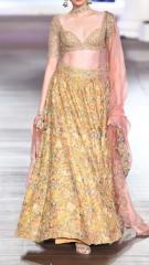 Golden Yellow Designer dress with Pink Duptta