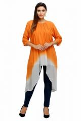 Georgette Ombre Dye Gathered Neck Dress With Double Layering