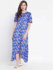 Women's Rayon Moss Printed Cold Shoulder Up & Down Hem Front Slit Dress With Buttons