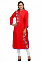 Linen Embroidered Long Kurta With Pearls